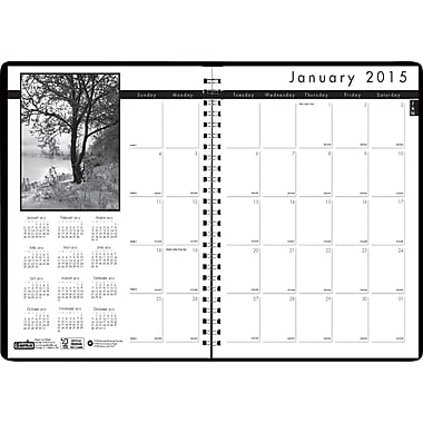 House of Doolittle™ 2015 Monthly, December-January, Black on White Planner, White/Black, 8 1/2in. x 11in.