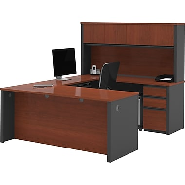 Bestar Prestige+ U-Workstation w/ Hutch and Pedestals, Bordeaux Cherry/Graphite