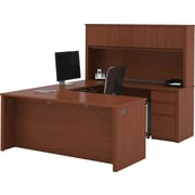 Bestar Prestige+ U-Workstation w/ Hutch and Pedestals, Cognac Cherry