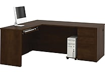 Bestar Prestige+ L-Workstation, Single Pedestal, Chocolate