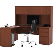 Bestar Prestige+ L-Workstation w/ Hutch and 1 Pedestal, Cognac Cherry