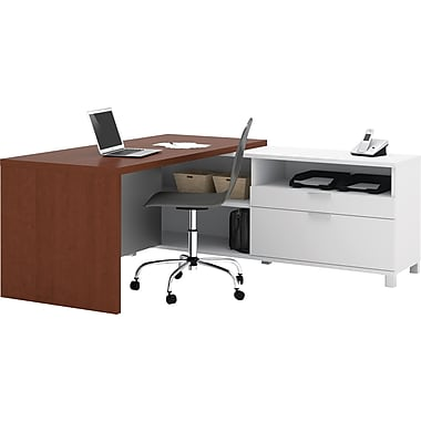 Bestar Pro-Linea L Workstation, White/Cherry
