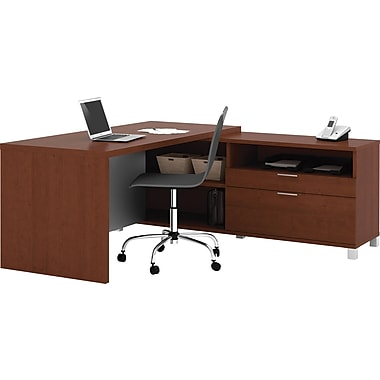 Bestar Pro-Linea L-Workstation, Cognac Cherry