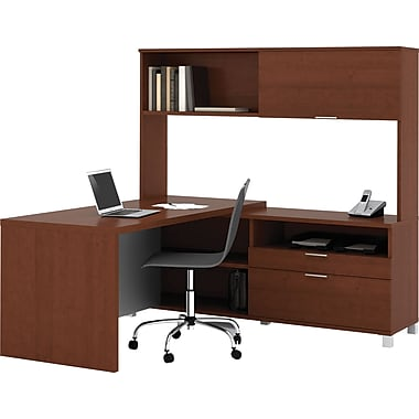 Bestar Pro-Linea L-Workstation w/ Hutch, Cognac Cherry