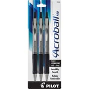 Pilot Acroball Pro Ballpoint Pens, Medium Point, Black, 3/Pack