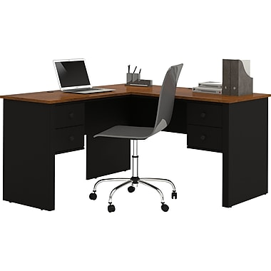 Bestar Somerville Corner Computer Desk, Black/Tuscany Brown (45420-1118)