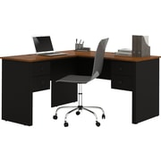Somerville L-Shaped desk in Black & Tuscany Brown