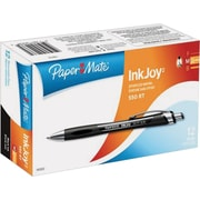 Paper Mate Inkjoy 550 Ballpoint Retractable Pens, Medium Point, Black, Dozen