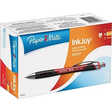 Paper Mate® InkJoy™ 550 Ballpoint Retractable Pens, Medium Point, Red, Dozen