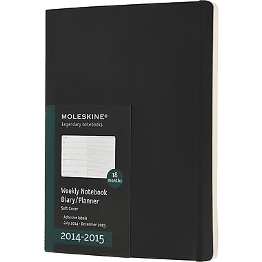 Moleskine 2014-2015 Turntable Planner, 18M, Weekly, Black, Soft Cover, 7 1/2in. x 10in.