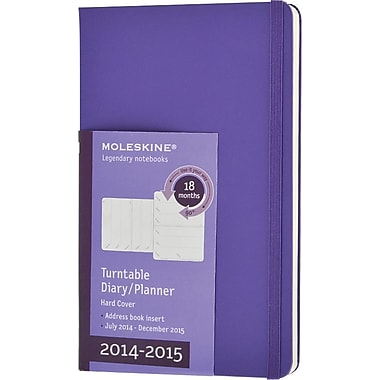 Moleskine 2014-2015 Turntable Planner, 18M, Weekly, Violet, Hard Cover, 3 1/2in. x 5 1/2in.