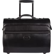 "Bugatti 17"" Simulated Leather Laptop Case On Wheels, Black"