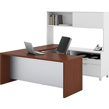 Bestar Pro-Linea U-Workstation w/ Hutch, White/Cognac Cherry