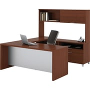 Bestar Pro-Linea U-Workstation w/ Hutch, Cognac Cherry