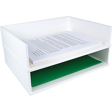 victor wood desk organizer letter tray pure white
