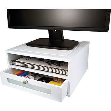 Victor wood desk organizer monitor stand pure white - White wood desk organizer ...