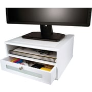 Victor® Wood Desk Organizer, Monitor Stand, Pure White
