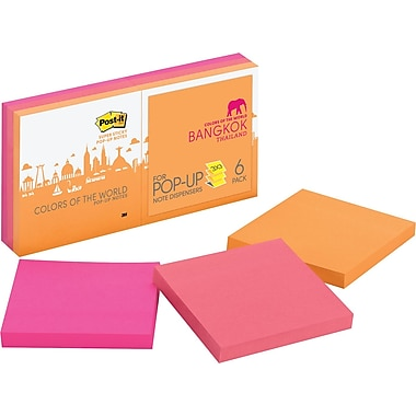 Post-it® Pop-Up Super Sticky 3in. x 3in. Bangkok Color Notes, 6 Pads/Pack