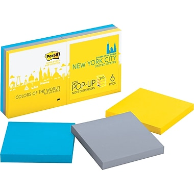 Post-it® Pop-Up Super Sticky 3in. x 3in. New York Color Notes, 6 Pads/Pack