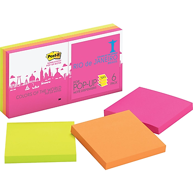 Post-it® Pop-Up Super Sticky 3in. x 3in. Rio Color Notes, 6 Pads/Pack