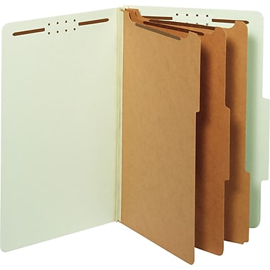 Classification Folders, Legal, 3 Dividers, Embedded Fastener, Light Green, 10/Box