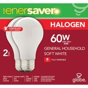 Globe Enersaver Halogen A19 43W Bulbs, Soft White, 2/Pack