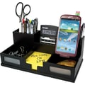 Victor® Wood Desk Organizer with Smart Phone Holder, Midnight Black