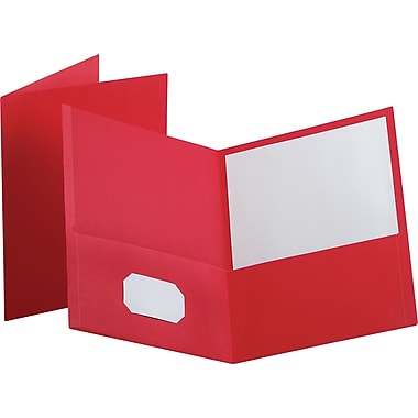 Staples® School Grade 2 Pocket Folder, Red, 25/Box