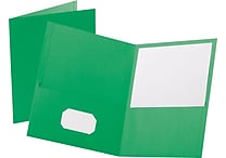 Staples® School Grade 2 Pocket Folder, Green, 25/Box