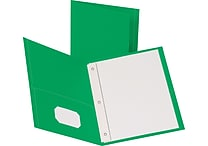Staples® School Grade 2 Pocket Folder with Fasteners, Green, 25/Box