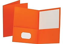 Staples® School Grade 2 Pocket Folder, Orange, 25/Box