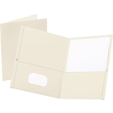 Staples® School Grade 2 Pocket Folder, White, 25/Box