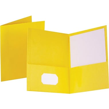 Staples® School Grade 2 Pocket Folder, Yellow, 25/Box