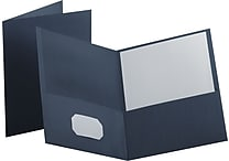 Staples® School Grade 2 Pocket Folder, Navy, 25/Box