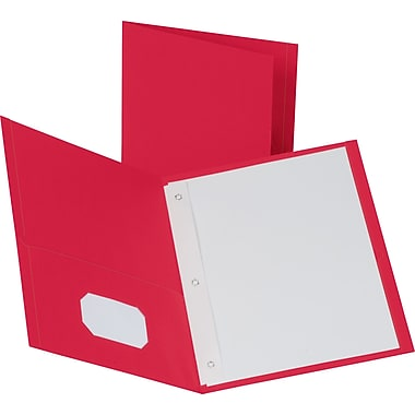 Staples® School Grade 2 Pocket Folder with Fasteners, Red, 25/Box