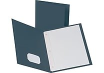 Staples® School Grade 2 Pocket Folder with Fasteners, Navy, 25/Box