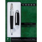 Cross Dubai Black Lacquer/Chrome Appointments Fountain Pen with Medium Stainless Steel Nib, Each
