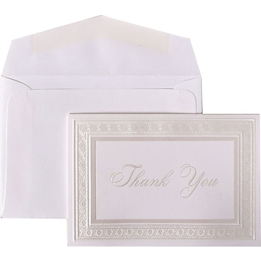 JAM Paper® Thank You Cards Set, Bright White with Pearl Border, 104 Note Cards with 100 Envelopes (BW80912)