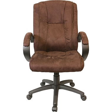 Comfort Products Fabric Executive Office Chair, Fixed Arms, Dark Brown (6.0097111E7)