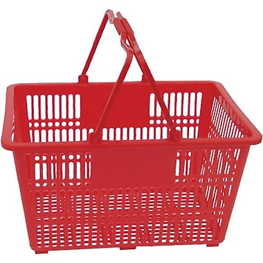 Plastic Handle Hand Shopping Basket, Red, 10/Pack (38-4401-RED)