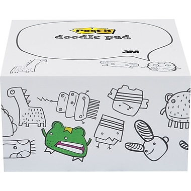 Post-it® Printed Notes Monsters Design Doodle Pad, 4in. x 4in., White, 450 Sheets