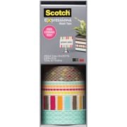 "Scotch® Expressions Washi Tape, Gold Diamonds, Funky Dots, Blurred Lines and Blue Weave,3/5"" x 393"", 4 Rolls"
