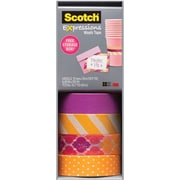 "Scotch® Expressions Washi Tape, Stripes, Dots and Sunset, 3/5"" x 393"", 4 Rolls"