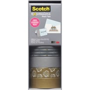 "Scotch® Expressions Washi Tape, Silver and Gold, 3/5"" x 393"", 4 Rolls"