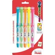 Pentel®24/7 Highlighter, Chisel tip, Assorted, 5/Pack