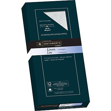 Southworth® 25% Cotton, #10 Linen Business Envelopes, 24 lb, 4-1/8