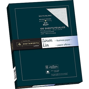 Southworth® Linen Paper, 24 lb, 8-1/2