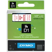 "Dymo 45015 1/2"" D1 Label Maker Tape, Red on White"