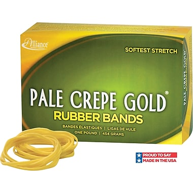 Alliance, Pale Crepe Gold® Rubber Bands, #19 (3 1/2in. x 1/16in.), Approximately 1890 Bands/1 lb. Box