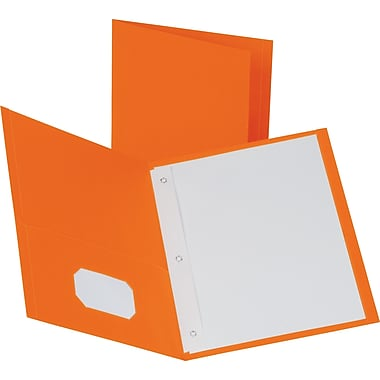 Staples® School Grade 2 Pocket Folder with Fasteners, Orange, 25/Box